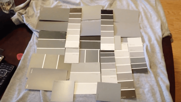 grey shirt with grey paint samples on top halloween costume