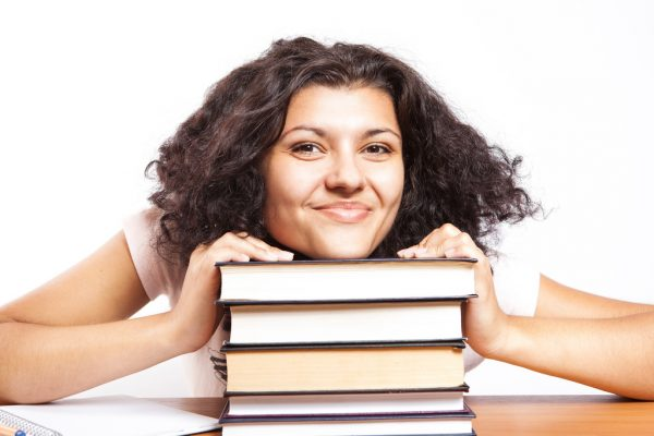 Girl with her books okay to not be okay