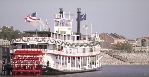 The Natchez Riverboat Cruise docked in the Mississippi River New Orleans