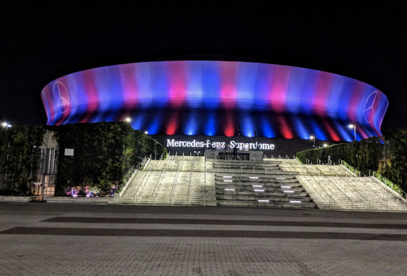 Shot of the Superdome at night new orleans