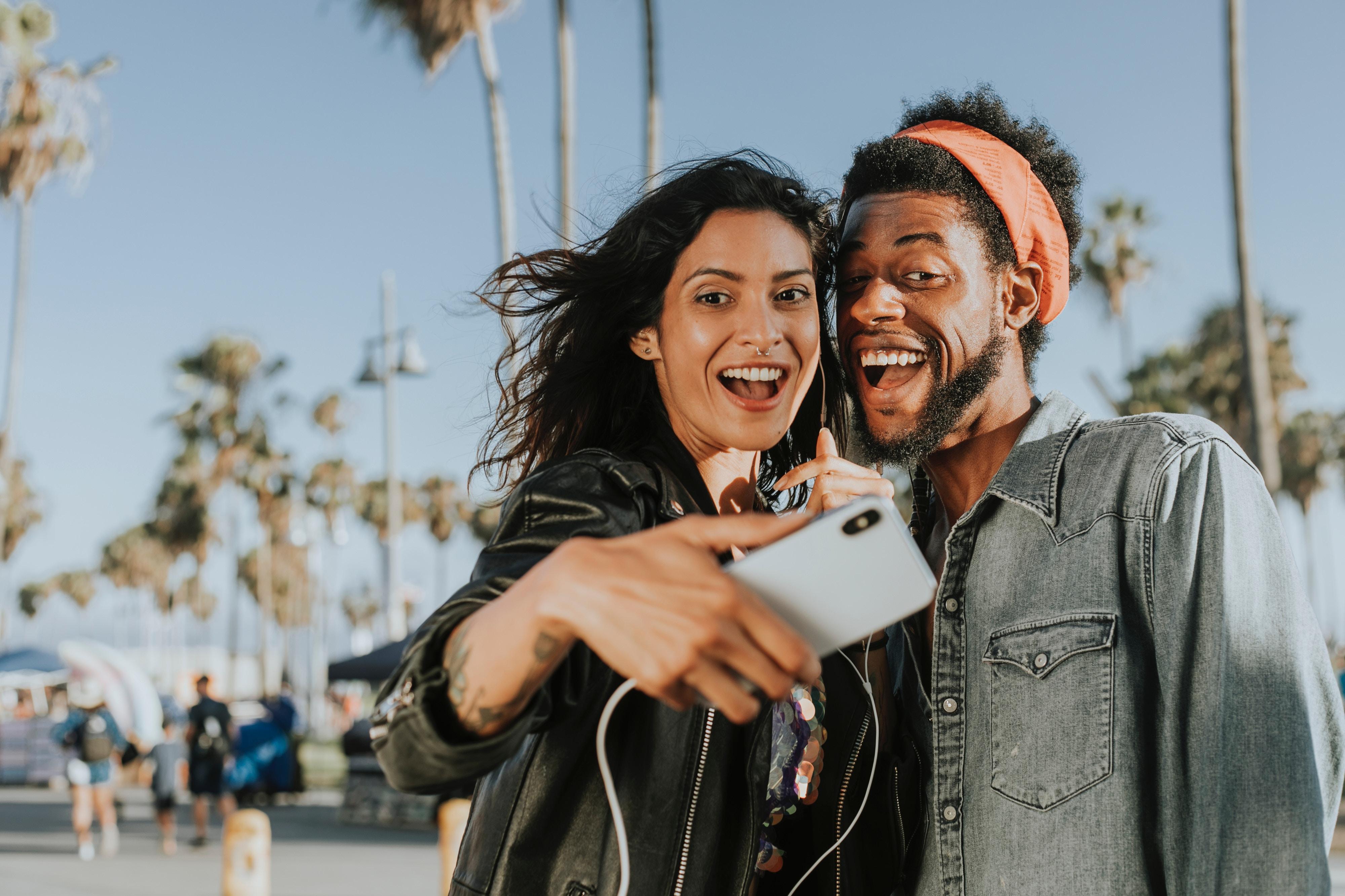 adult students taking selfie smiling