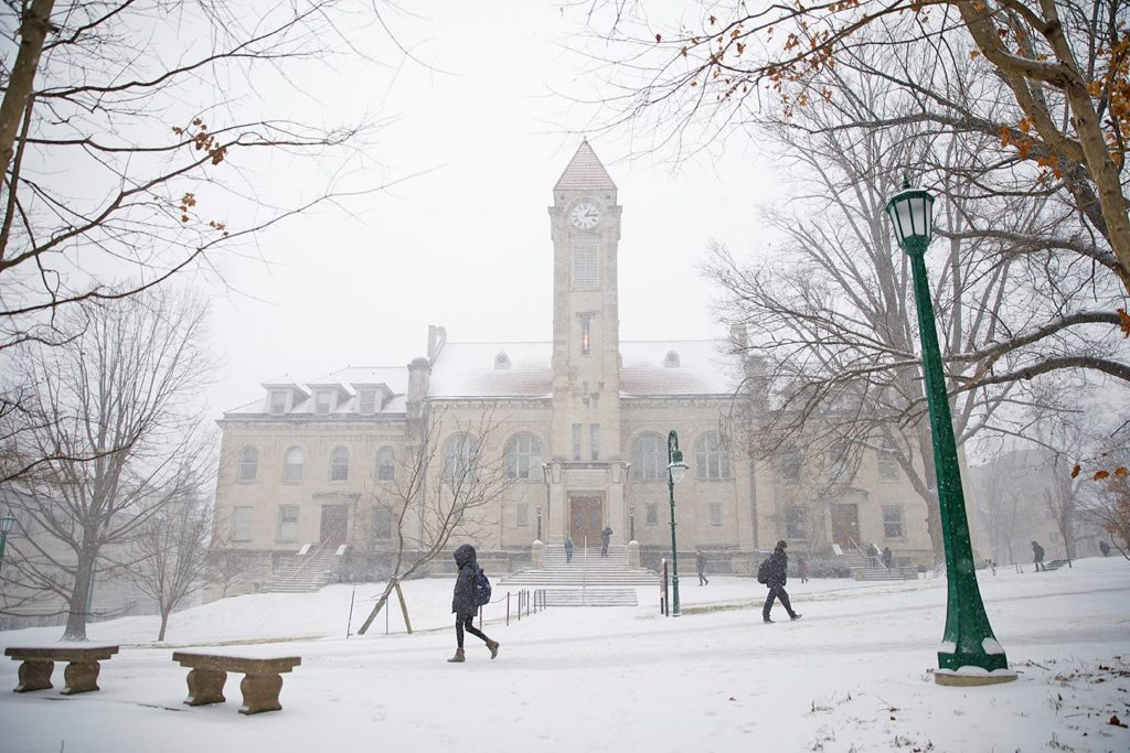 indianna university in the snow