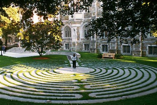 labyrinth outside Burns Library Boston College