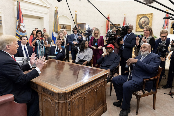 kanye and trump surrounded by media in the oval office 2018 highlights