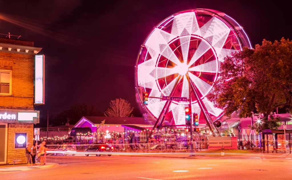 pink lit up Ferris wheel