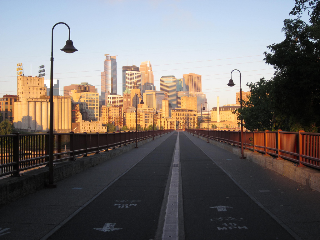 Stone Arch Bridge with Minneapolis skyline
