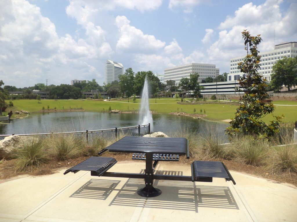 Cascades Park bench and fountain