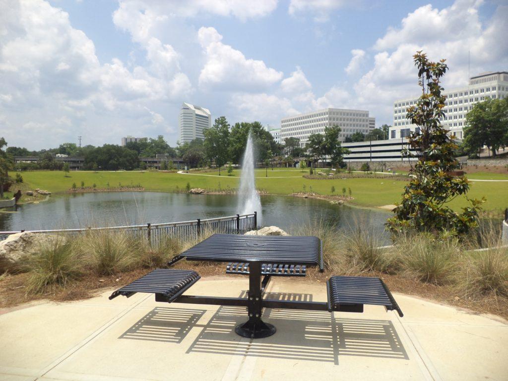 Cascades Park bench and fountain