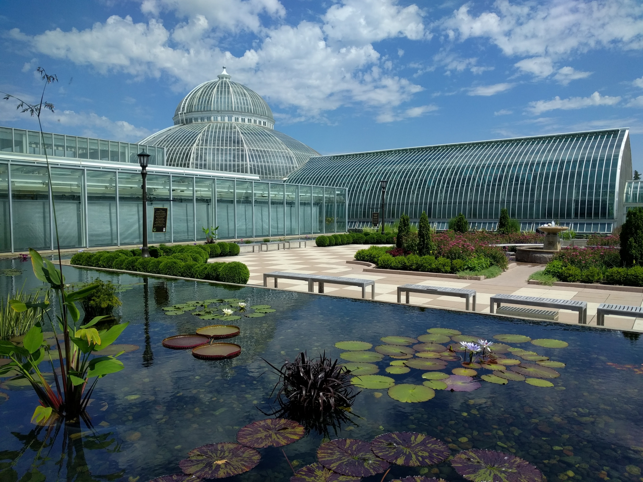 Como Park Conservatory with pond of lilipads