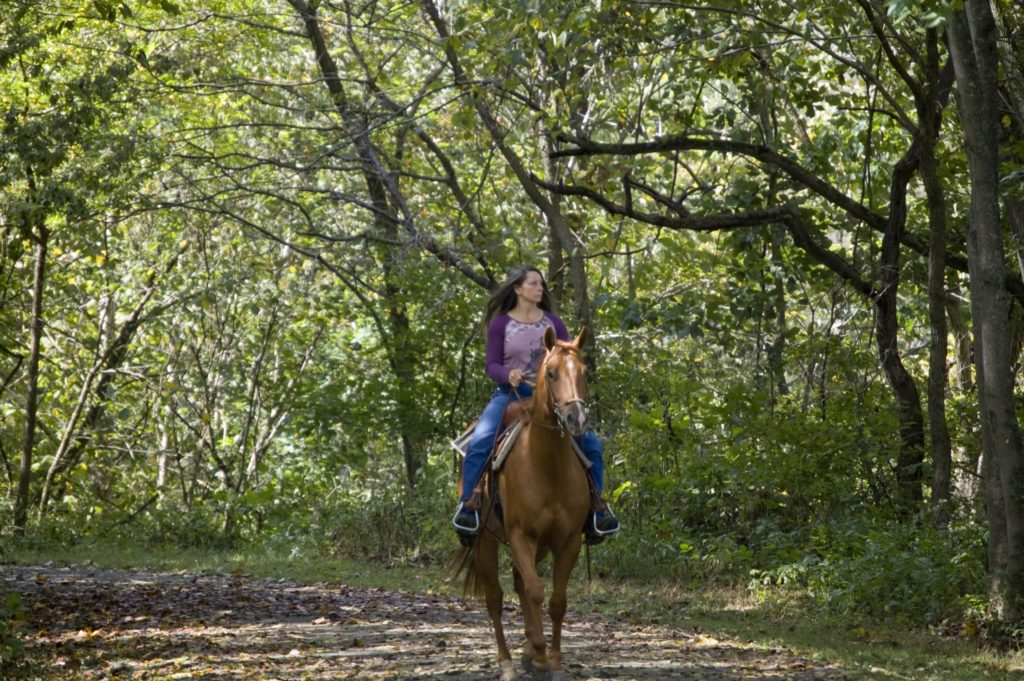 girl horseback riding in woods