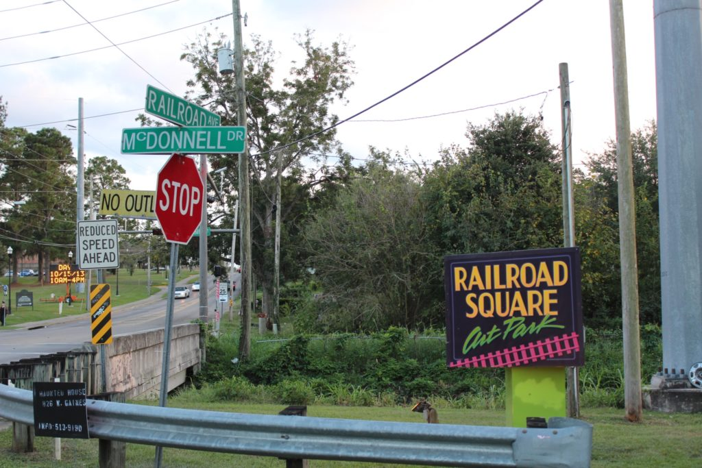 Railroad Square Art Park sign