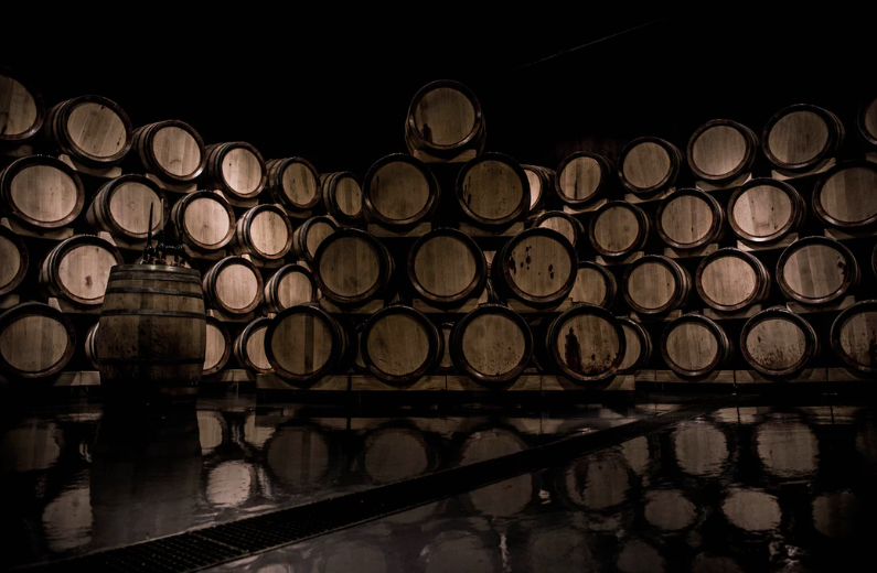 wine barrels stacked up portland