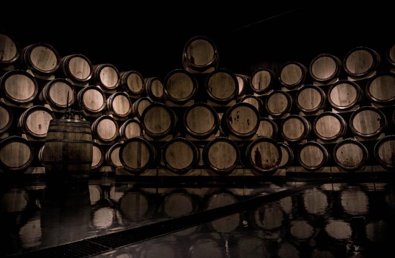 wine barrels stacked up portland