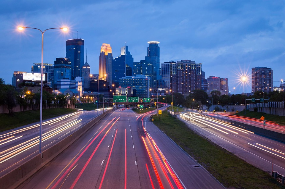 Skyline of Minneapolis at night