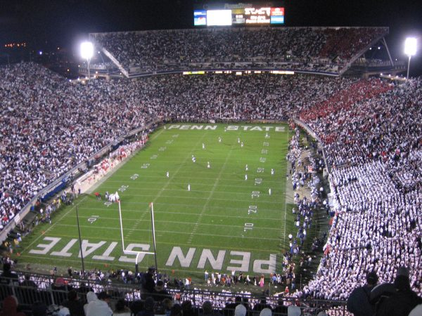 picture of beaver stadium with psu and osu fans in it