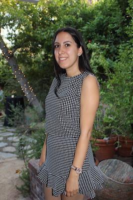 Sara Zaghi posing in garden