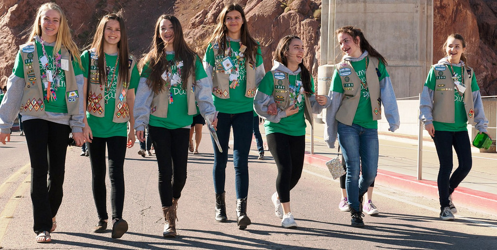 girl scouts walking together