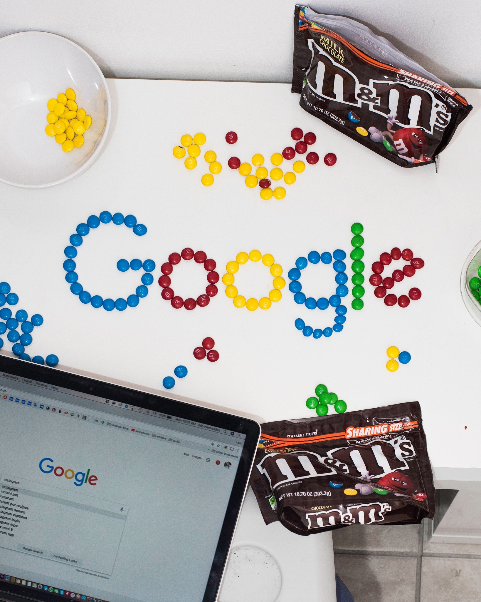 working at google spelled in m&ms