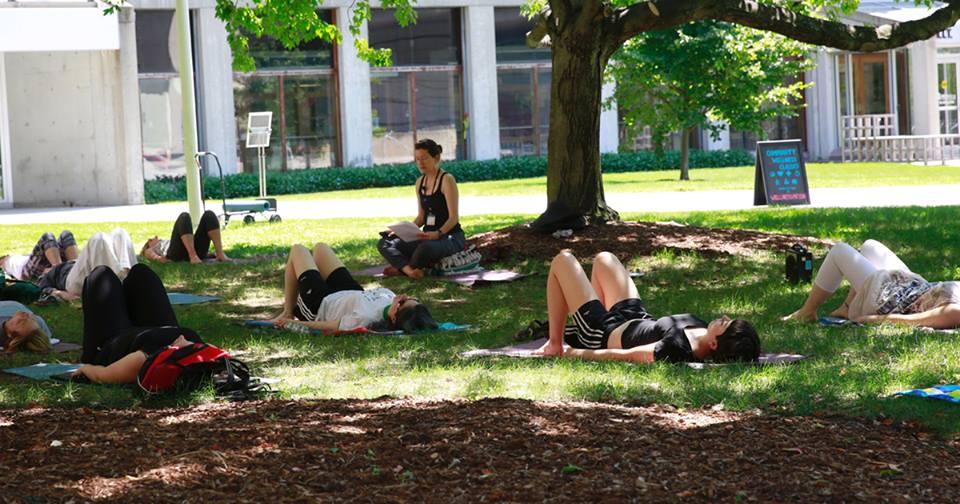 yoga on the grass mental health