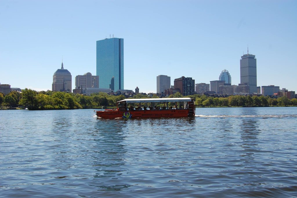 Duck Tour Vehicle in Front of Skyline