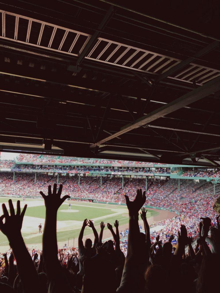 Fans Cheering at a Baseball Game