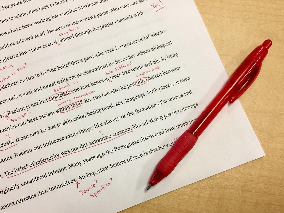 red pen edits