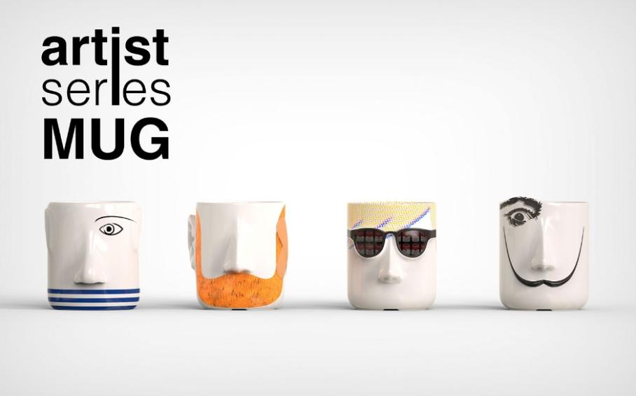 artist series mug displayed on table