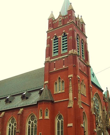 our lady of grace red church in hoboken