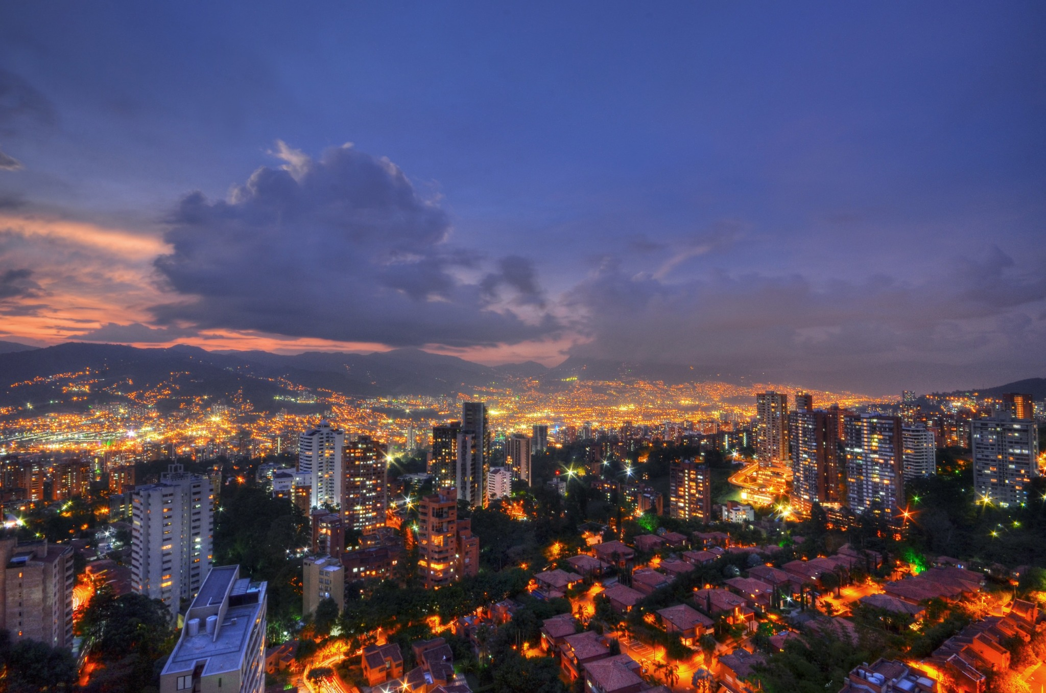 photo of medellin colombia overlooking the city at night