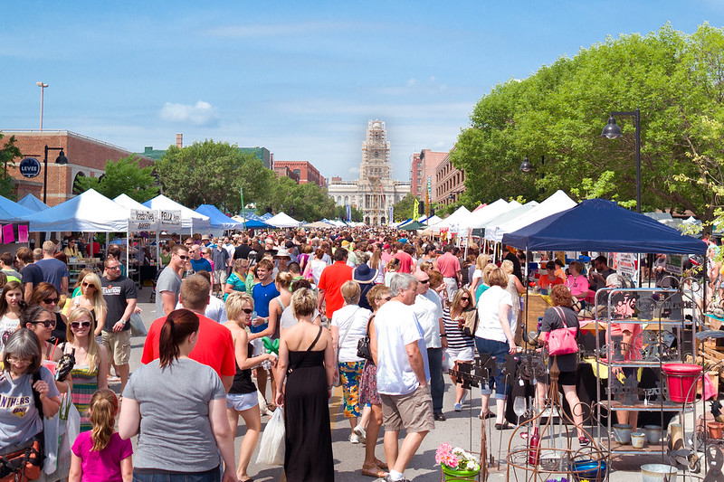 People gather at Des Moines Farmers Market