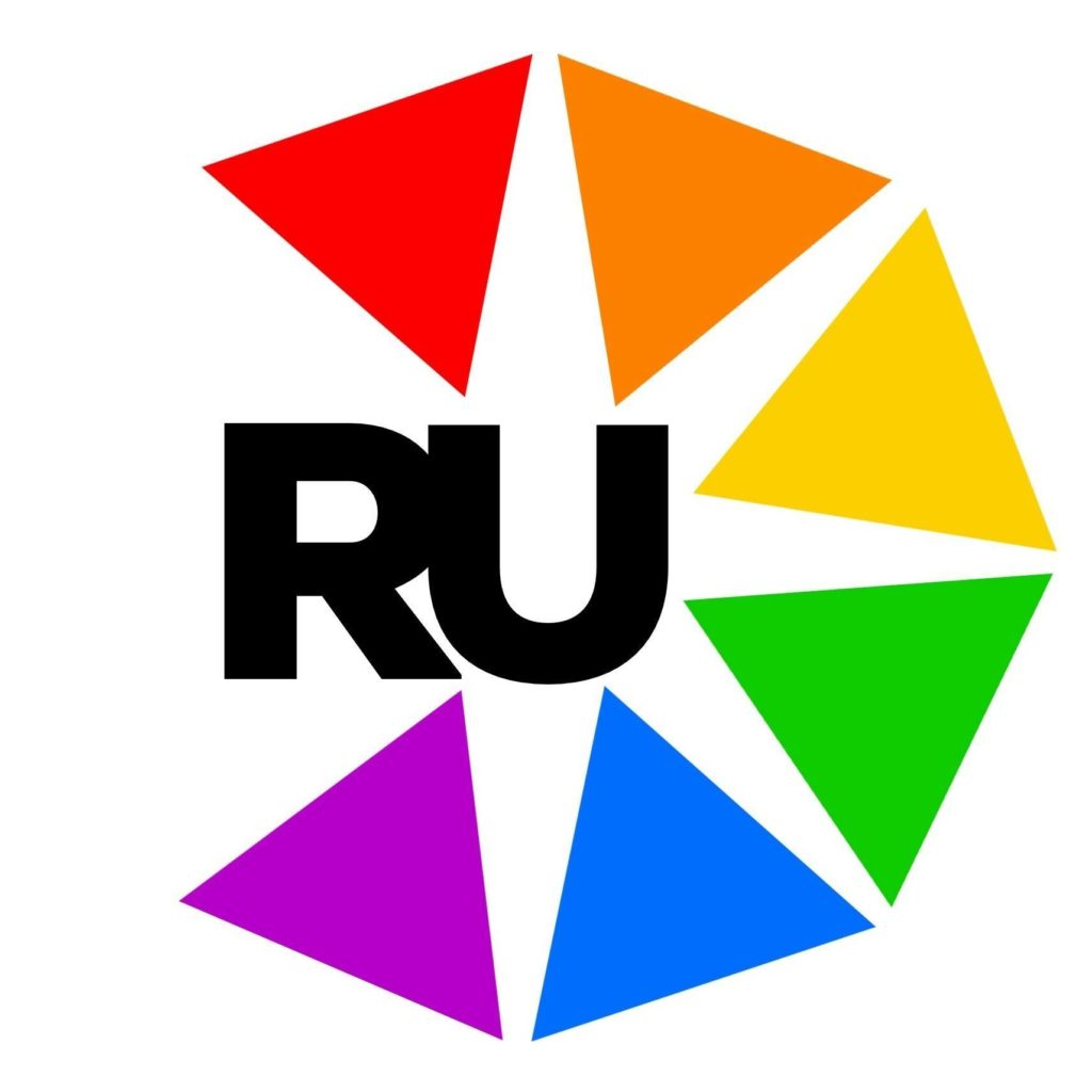 A logo with colored triangles and the letters RU