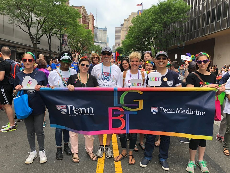 Members of the Penn LGBT Center march in a Pride parade