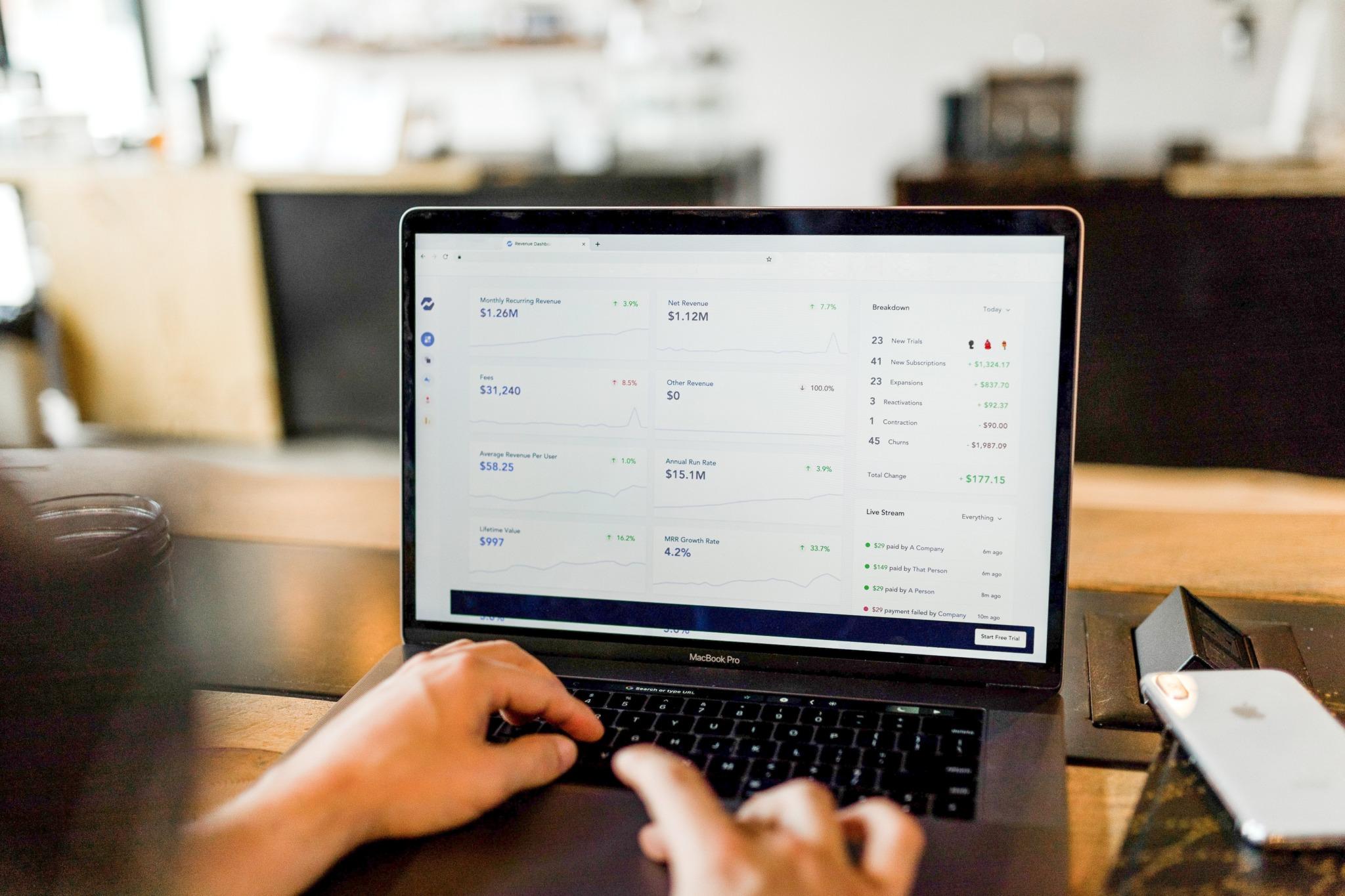 open computer screen checking stocks