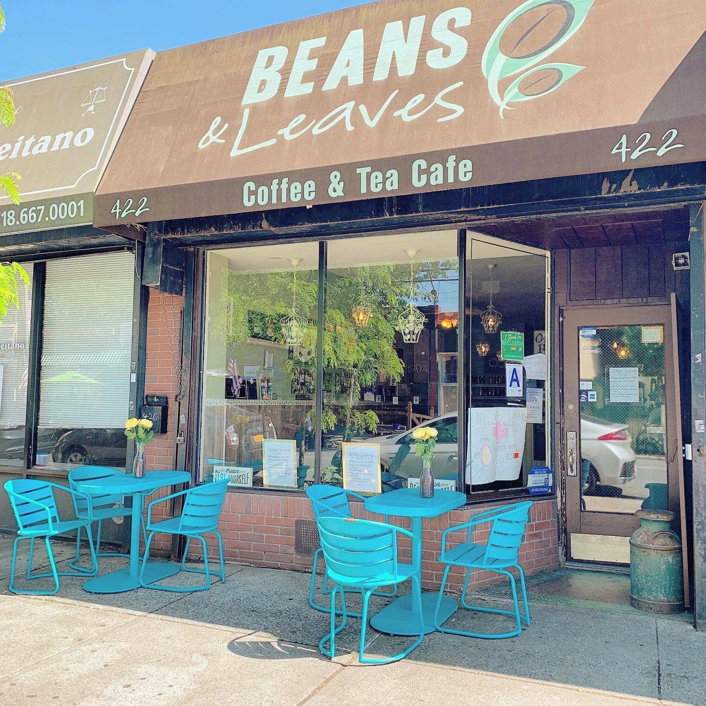 beans and leaves coffee shop with outside seating
