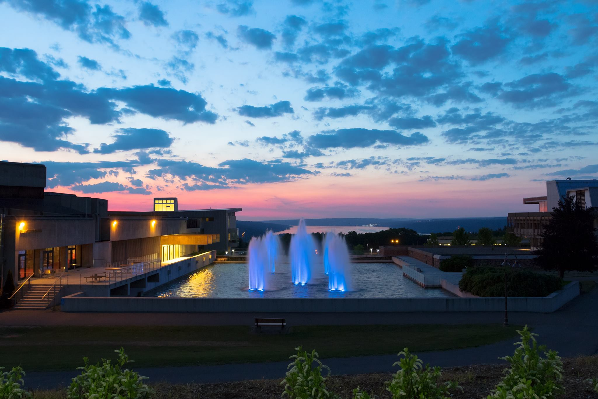 Ithaca college fountains and sunset