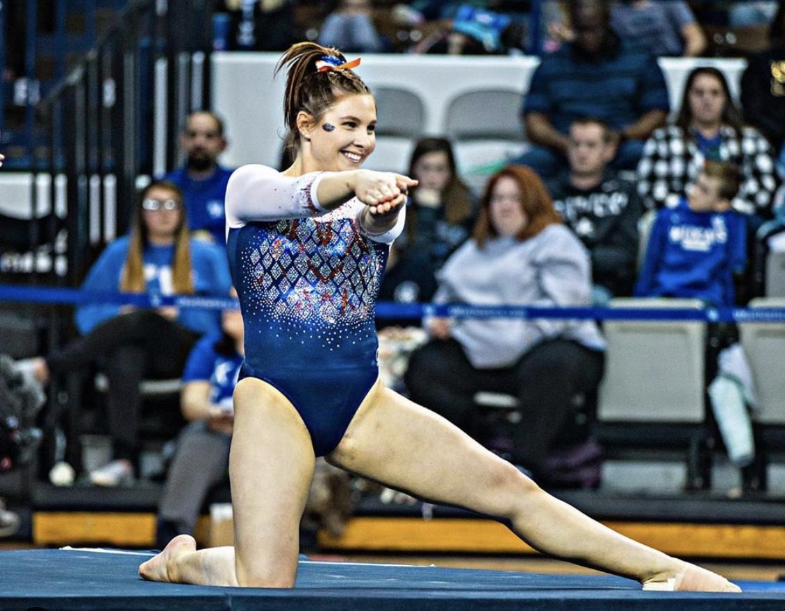 A Florida gymnast doing the gator chomp