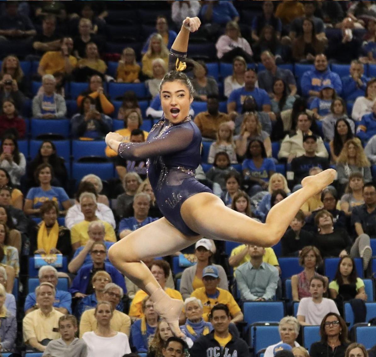 a gymnast jumping