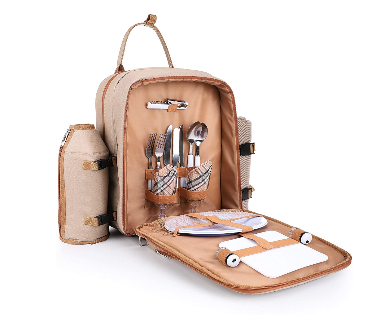 brown picnic basket backpack on table