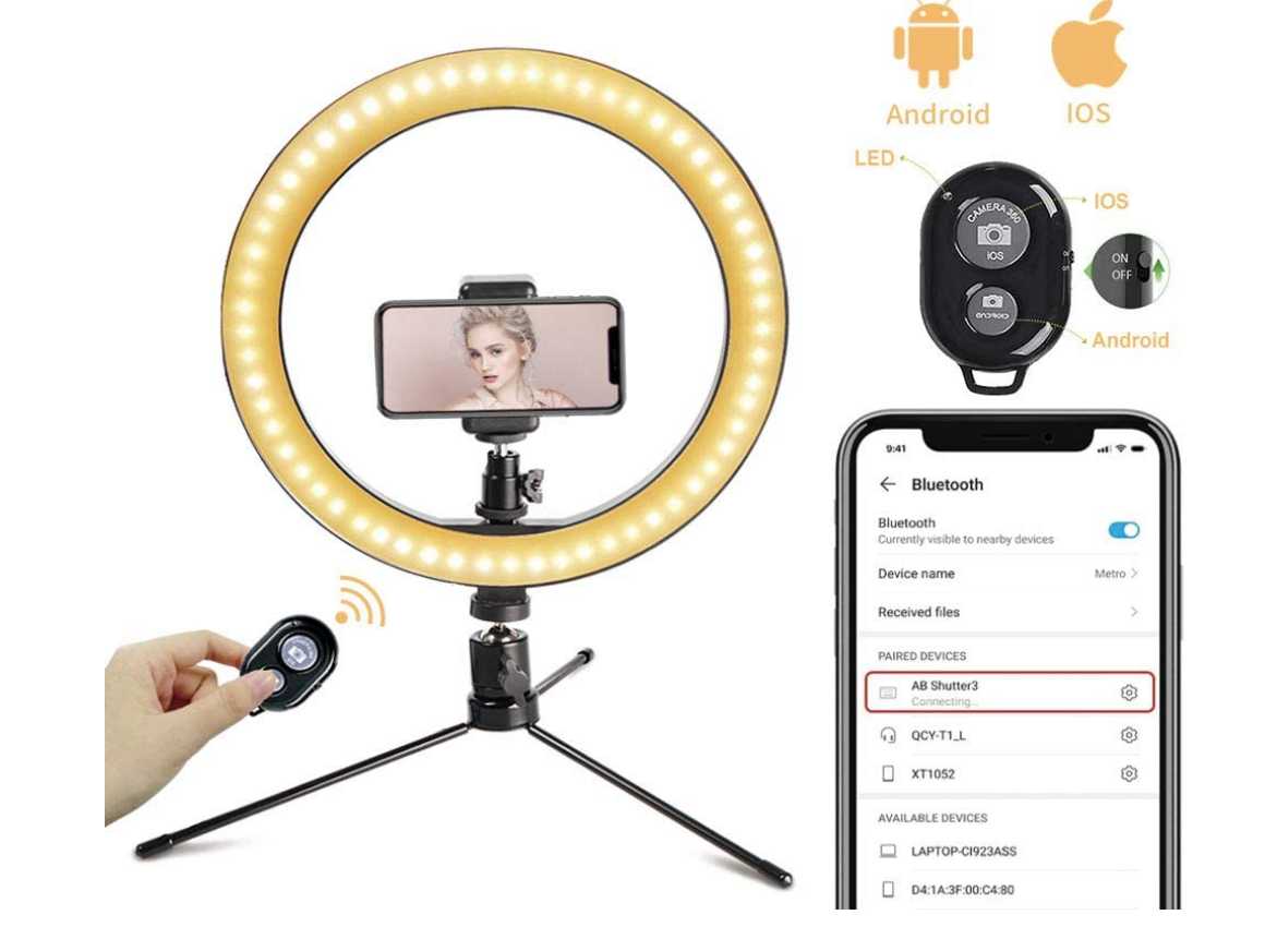 ring light with phone and bluetooth options