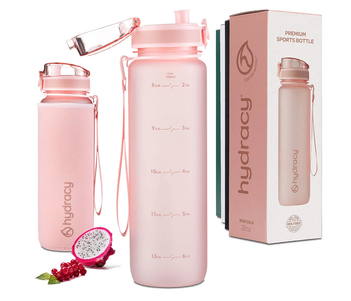 pink hydracy water bottle on a white table