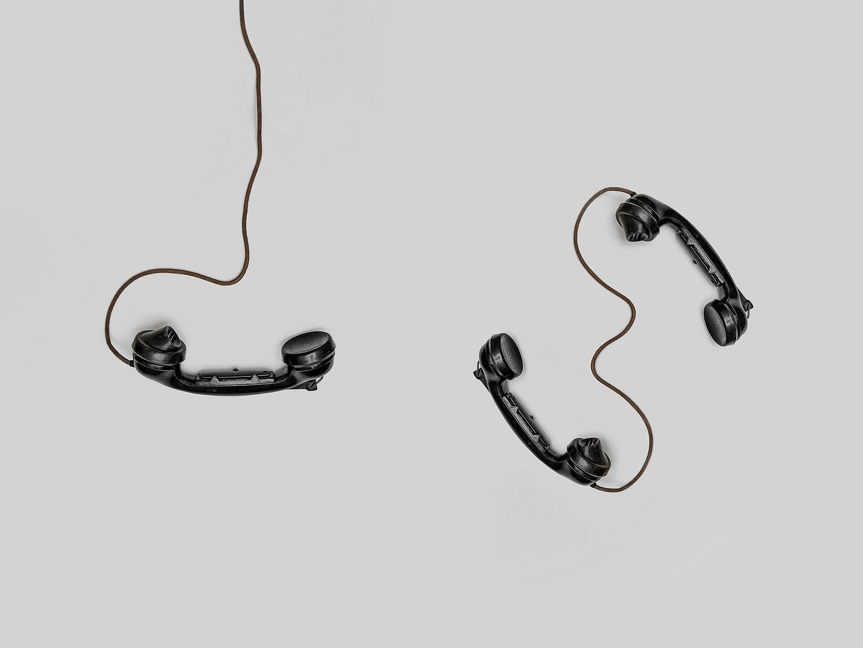 Phones connected to wires