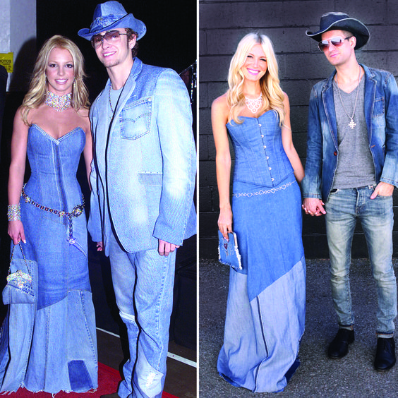 Britney Spears and Justin Timberlake in denim next to a couple dressing up as them