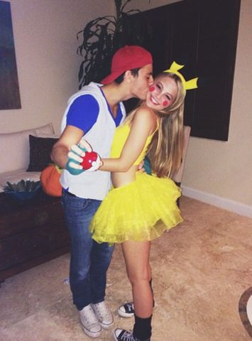 couple dressed as ash and pikachu