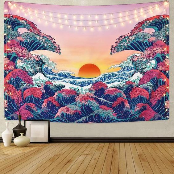 great wave pink version tapestry