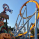 Halloween decorations stand in the foreground in front of the Silverbullet rollercoaster.