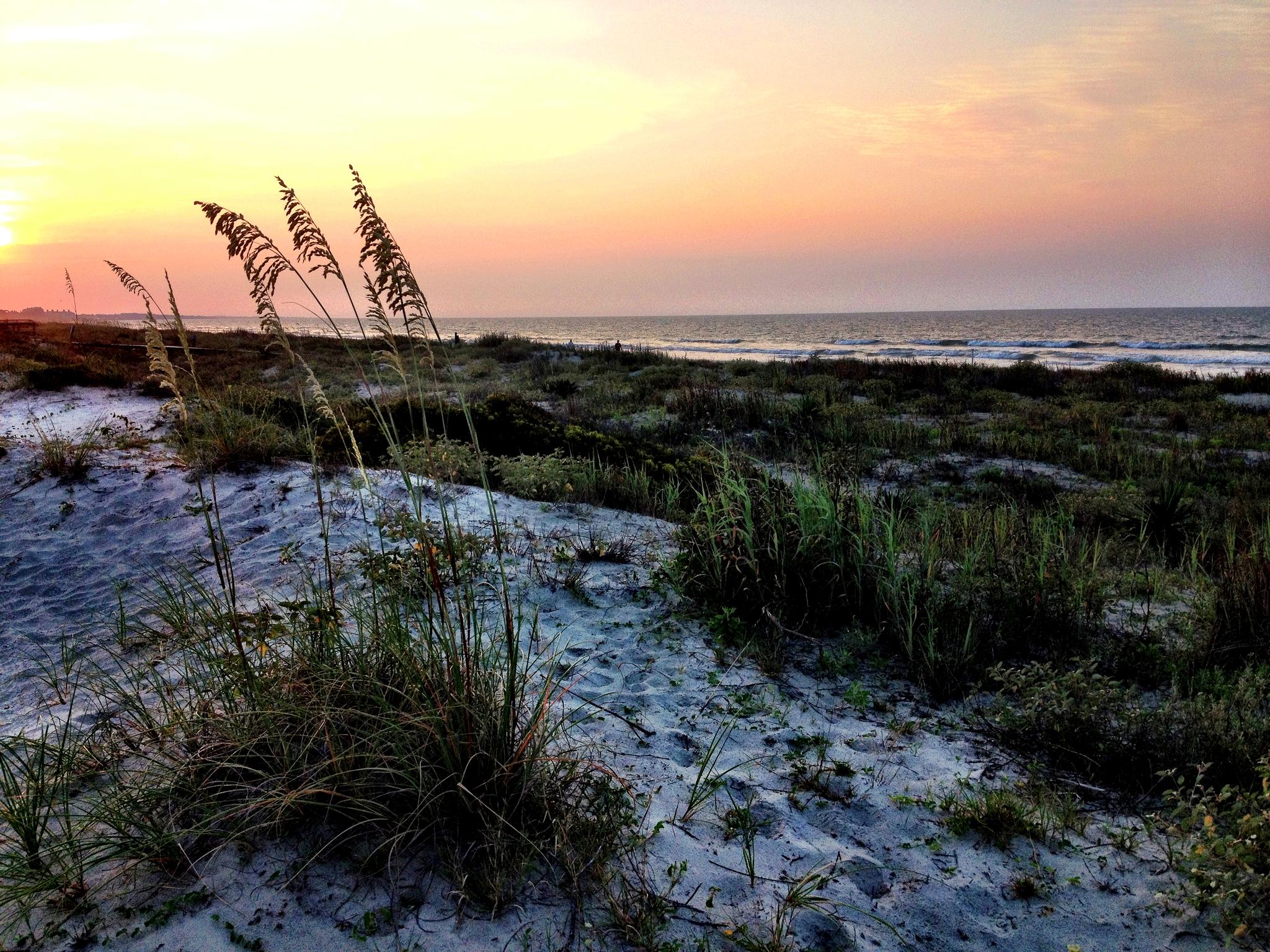 Kiawah Island beach at sunset