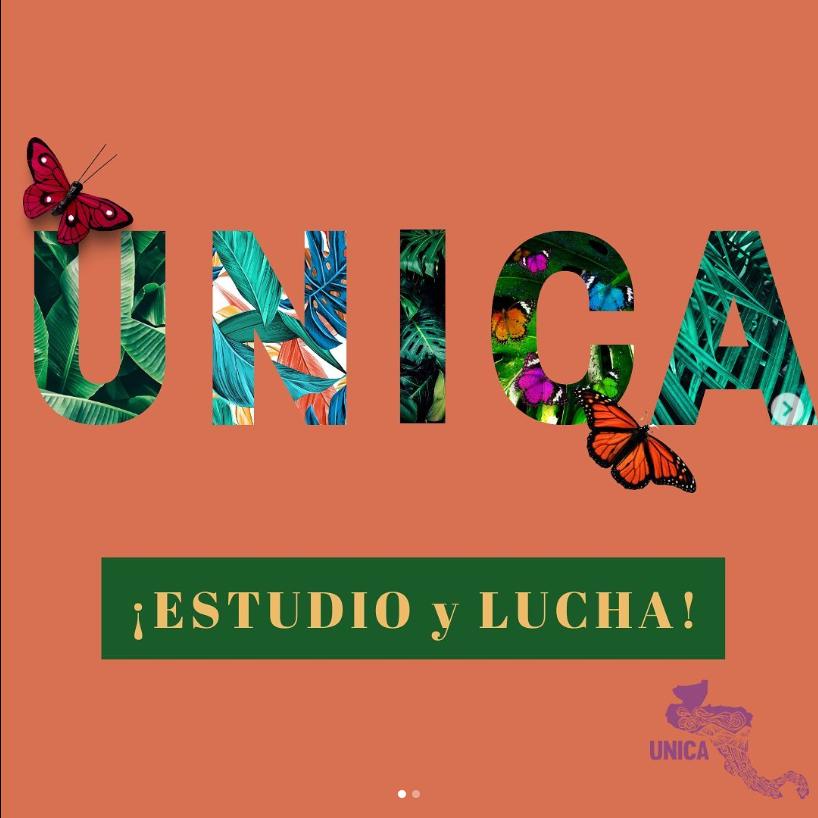 "Unica graphic with their phrase ""Estudio y Lucha""."
