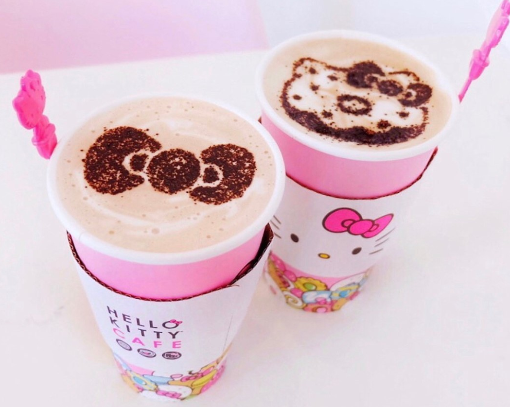 Two drinks with Hello Kitty-inspired designs from the OC Hello Kitty Cafe.
