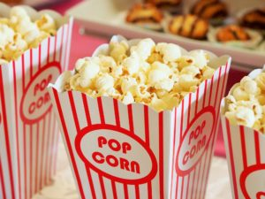 Popcorn in striped containers.