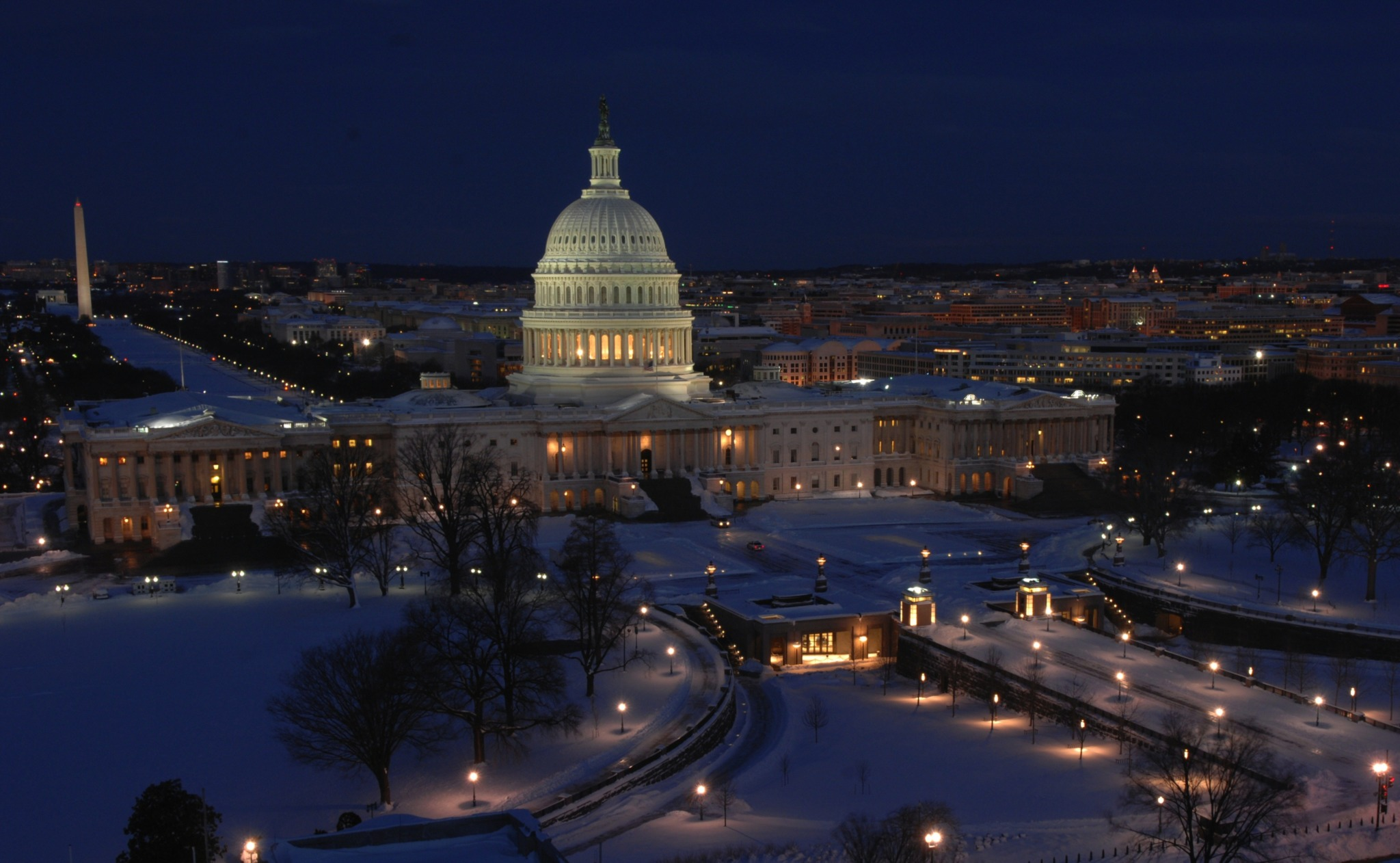 The Capitol Building and Washington D.C. in snow